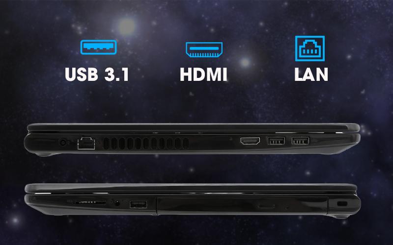 Đầy đủ các cổng kết nối trên laptop văn phòng Dell Inspiron 3576 i3 (C5I3133W)
