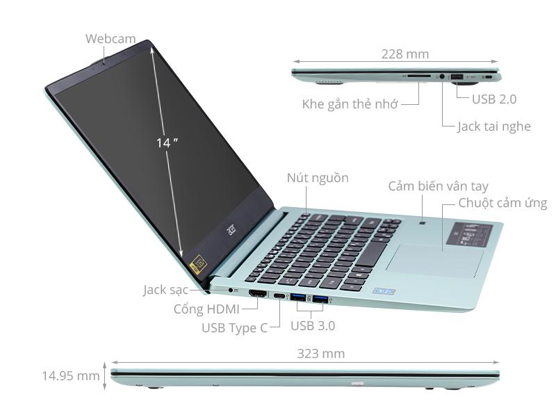 ACER Swift 1: Pentium N5000/4G/SSD 64G/14in FullHD/pin 17h, còn BH 2th - 5