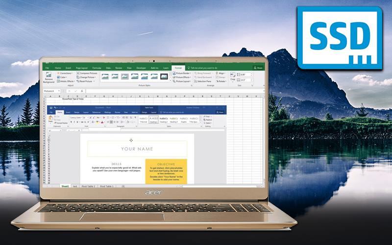 Laptop Acer Swift SF315 52 50T9 i5 trang bị cổng SSD khởi động nhanh chóng