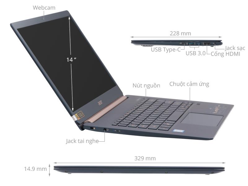 Acer Swift 5 SF514 53T 720R i7 8565U/8GB/256GB/Touch/Win10 (NX.H7HSV.002)