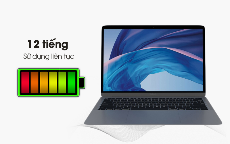Thời lượng pin laptop Apple Macbook Air 128 GB Space Gray MRE82SA/A