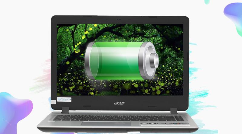 Laptop Acer Aspire A514-51-58ZJ vận hành liên tục lên đến 7 tiếng đồng hồ.