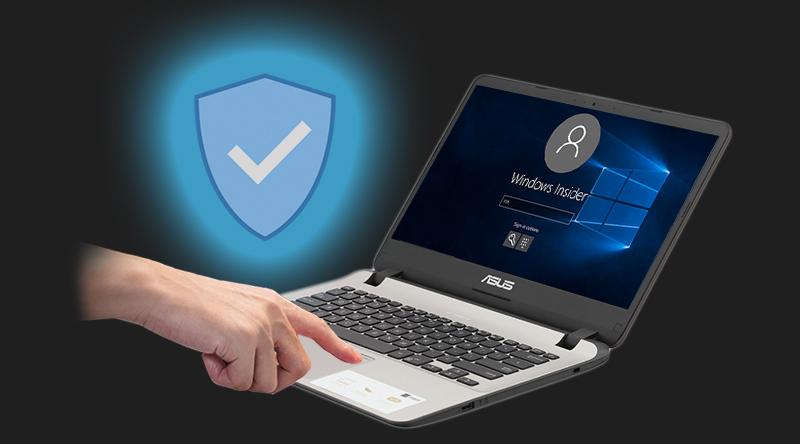 Laptop Asus VivoBook X407UA BV145T sở hữu công nghệ bảo mật bằng vân tay.