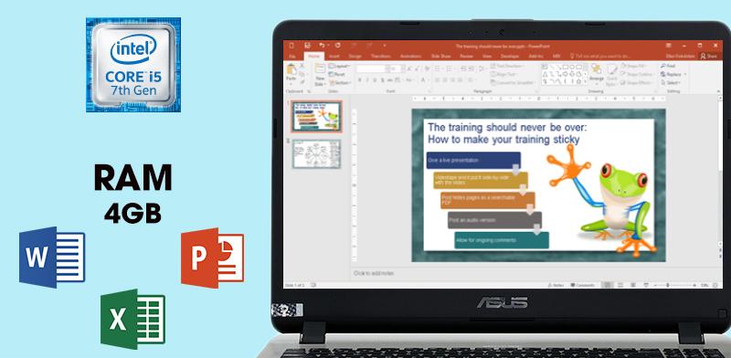 Laptop Asus  X507UF sử dụng thoải mái mọi ứng dụng giải trí thông thường và văn phòng