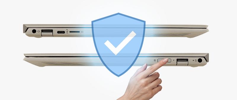 HP Envy 13 ah1010TU có bảo mật vân tay thông minh giúp bảo vệ thiết bị