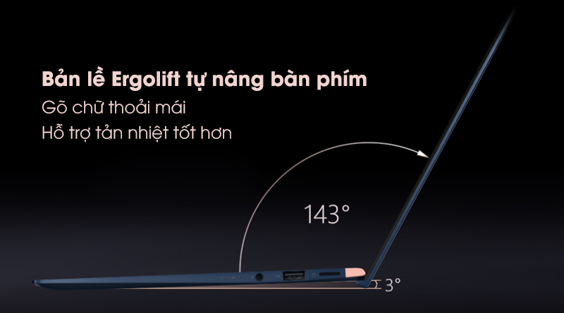 Laptop Asus Zenbook 13 UX333FA-A4011T thiết kế tự nâng bàn phím