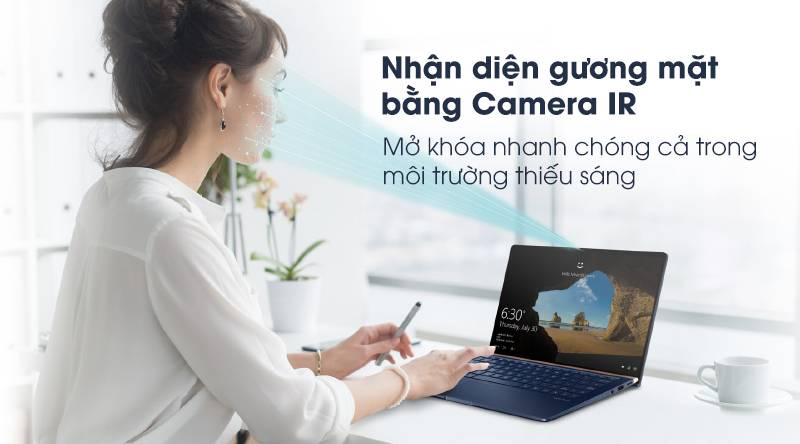 Bảo mật nhận diện gương mặt trên laptop Asus ZenBook 13 UX333FA