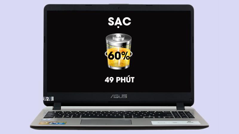 Laptop Asus Vivobook X507UB-BR354T sạc nhanh hơn với công nghệ Asus SuperBattery