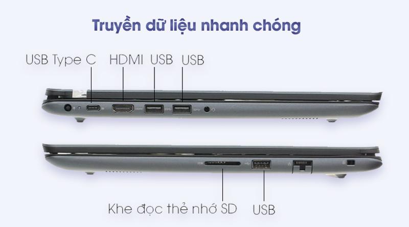 Laptop Dell Vostro 5581 có đủ các cổng kết nối hiện hành
