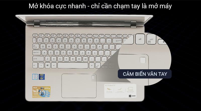Laptop Asus VivoBook S530FA BQ400T được đăng nhập an toàn với cảm biến vân tay.