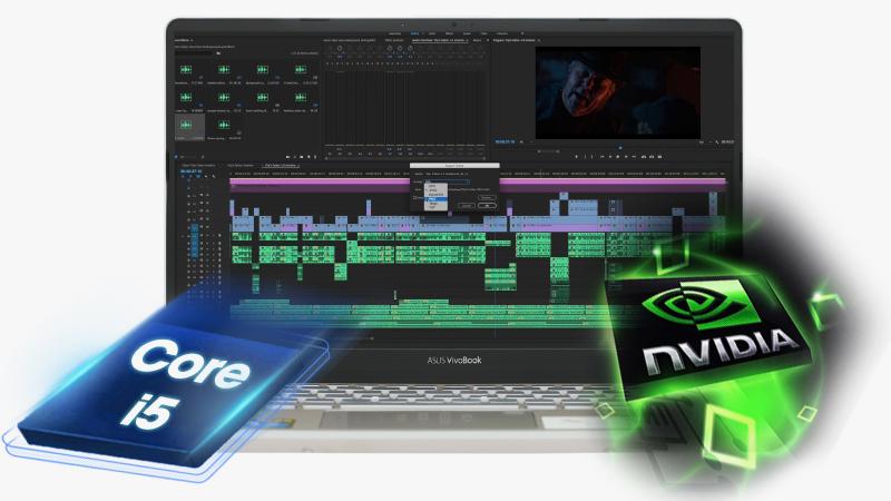 Laptop Asus VivoBook S430FN EB032T xử lý mượt mà các thao tác kéo thả trong các app thiết kế: Photoshop, Corel...