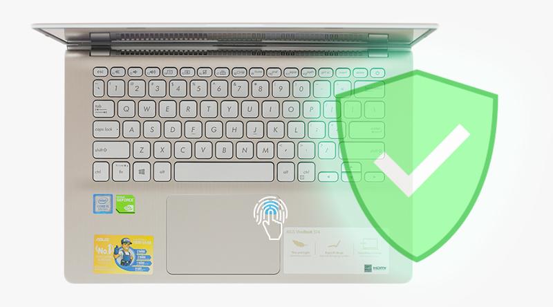 Cảm biến vân tay của laptop Asus VivoBook S430FN EB032T cho sự nhanh chóng và bảo mật khi truy cập dữ liệu