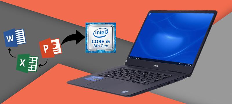 Dell Vostro 5581- 93S1GT2 có bộ vi xử lí Intel Core i5 thế hệ 8 kết hợp với RAM 4 GB