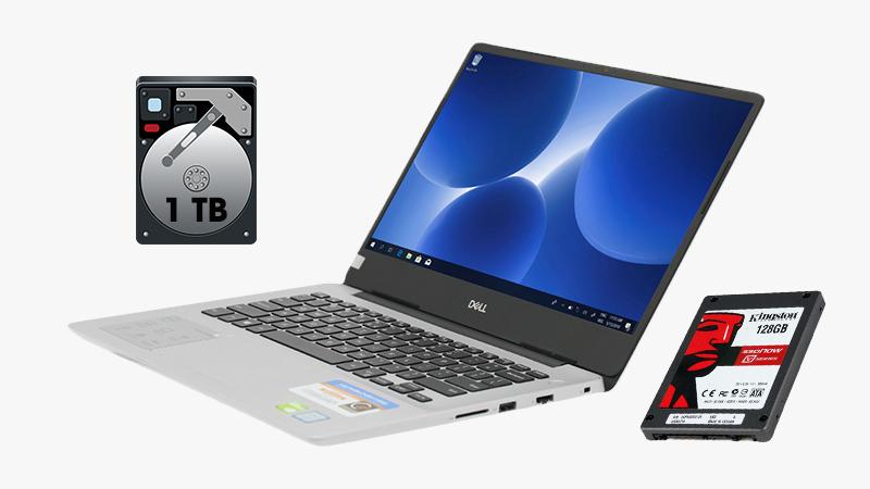 Laptop Dell Inspiron 5480 được trang bị ổ lưu trữ kép HDD 1 TB + SSD 128 GB