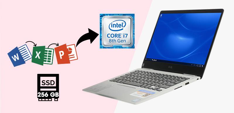 Laptop Dell Inspiron 7370 i7 (7D61Y3) đem lại cấu hình máy đáp ứng tốt nhu cầu làm việc