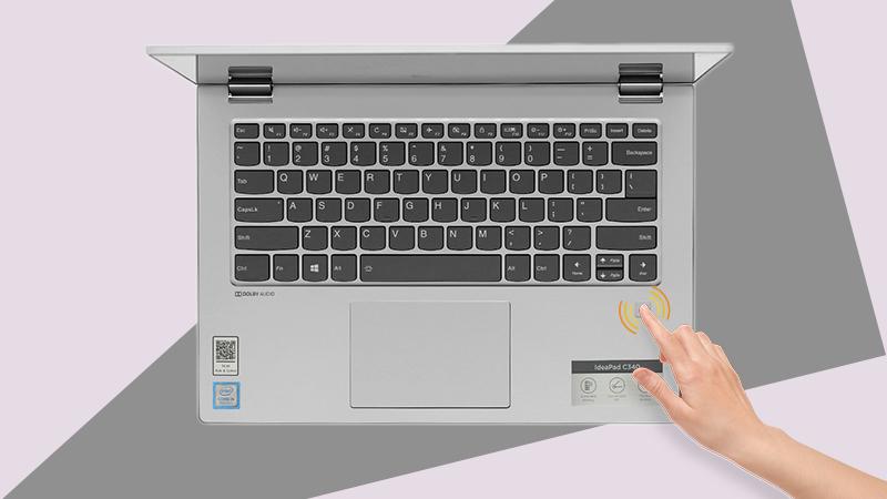 Laptop Lenovo ideapad C340 cho phép mở máy nhanh bằng cảm biến vân tay