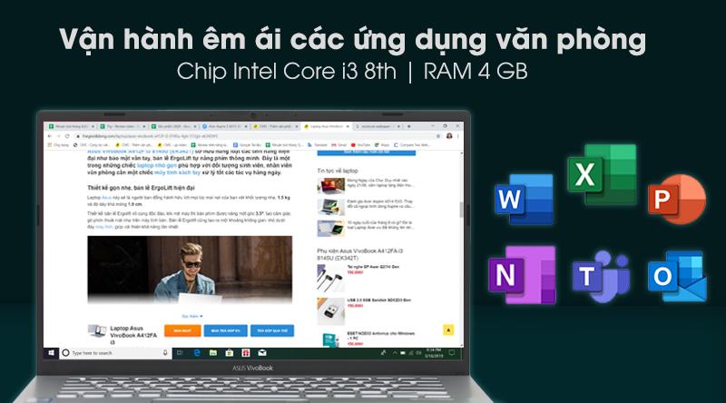 Laptop Asus Vivobook A412F i3 8145U chạy mượt các ứng dụng văn phòng