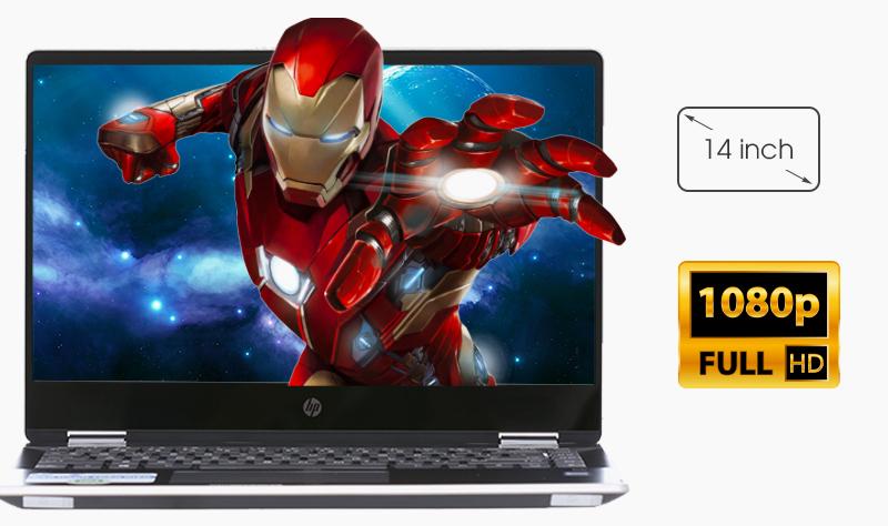 Laptop HP Pavilion x360 dh0103TU tạo cảm giác không gian hiển thị rộng như máy tính 15 inch.