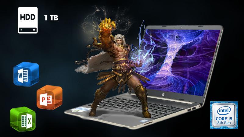 Laptop HP 15s du0063TU được trang bị ổ cứng HDD dung lượng 1 TB