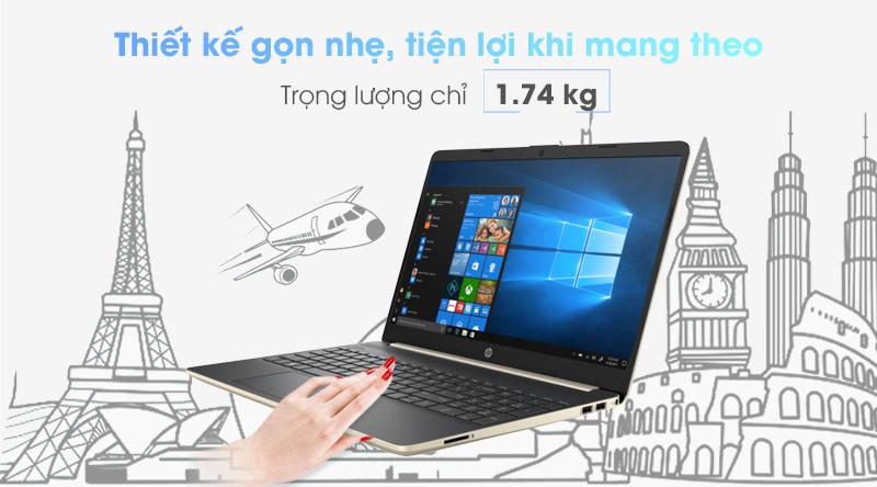 Laptop HP 15s du0063TU được làm từ vỏ nhựa phủ sơn màu vàng đồng