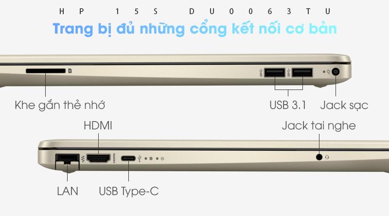 Laptop HP 15s du0063TU  trang bị khá đầy đủ các cổng kết nối cơ bản