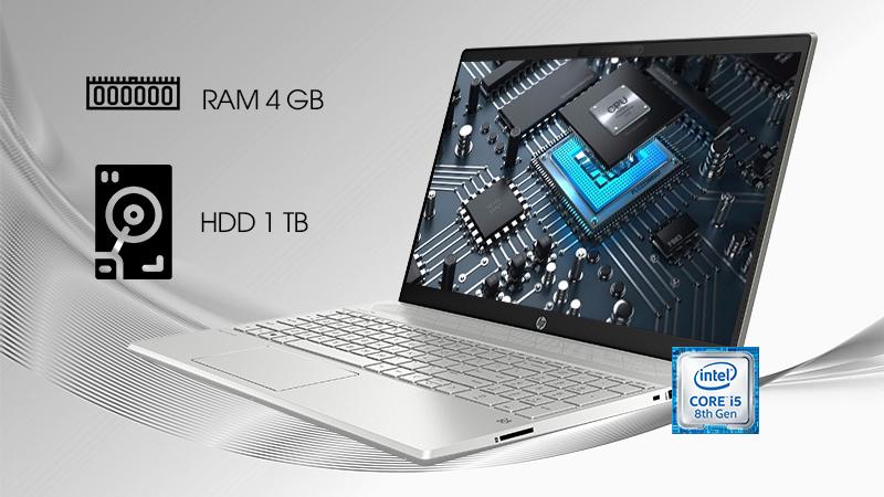 Laptop HP Pavilion 15 cs2056TX sử dụng CPU Intel Core i5 thế hệ thứ 8 cùng với bộ nhớ 4 GB RAM