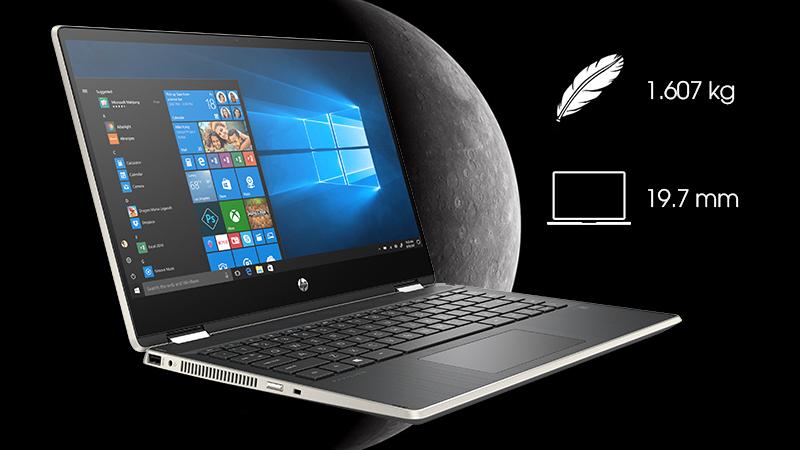 Laptop HP Pavilion x360 được hoàn thiện bằng nhựa