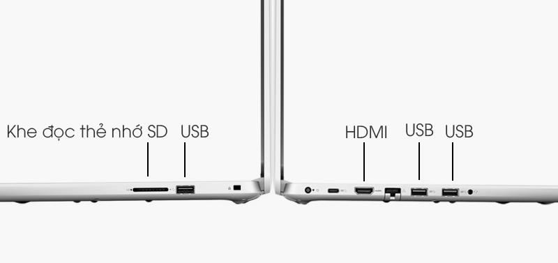 Laptop Dell Inspiron được trang bị đầy đủ các loại cổng kết nối
