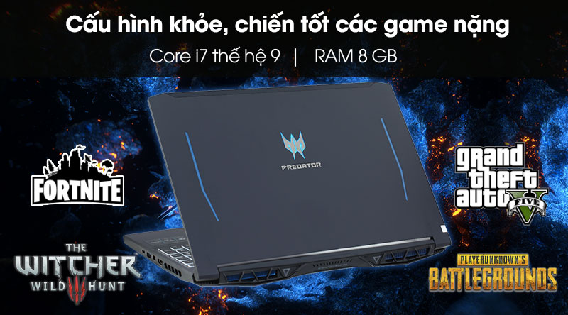Acer Predator có chip Core i7 9th, RAM 8 GB