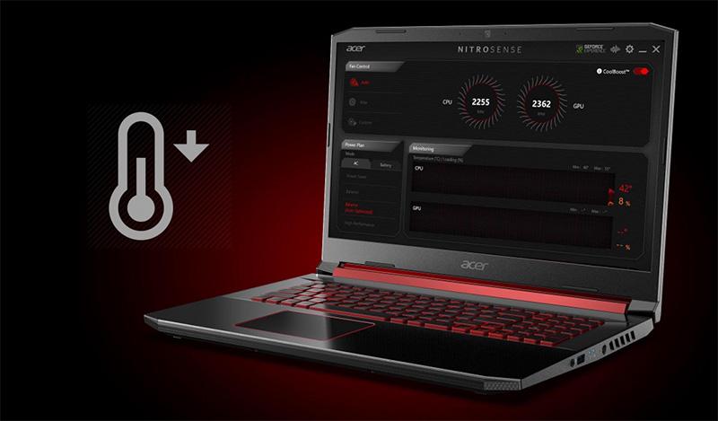 NitroSense trên laptop Acer Nitro AN515 54 52EZ tản nhiệt hiệu quả
