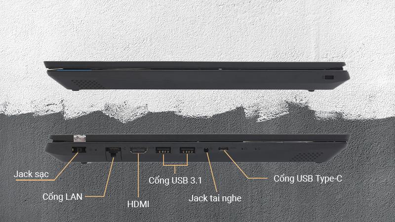Laptop có đầy đủ các cổng kết nối phổ biến hiện nay: USB 3.1, HDMI, LAN (RJ45), USB Type-C.