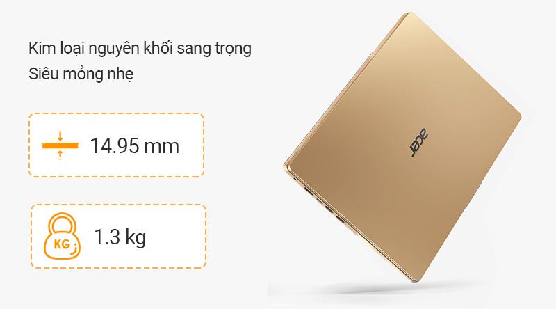 Laptop Acer Swift SF114 chỉ dày 14.95 mm cùng chất liệu kim loại nguyên khối