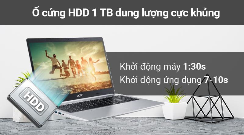 Laptop Acer Aspire A515 54 59KT đem đến dung lượng lưu trữ lí tưởng