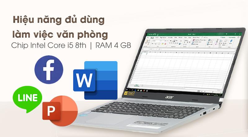 Laptop Acer Aspire A515 54 59KT mang lại hiệu năng ôn định