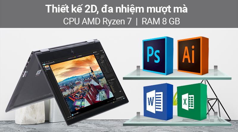 Laptop HP Envy x360 ar0072AU R7 có khả năng chạy tốt các ứng dụng nặng