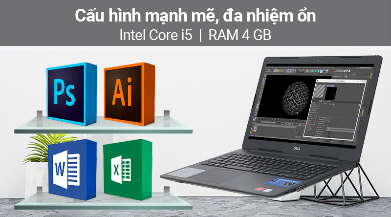 Laptop Dell Vostro 3580 i5 (P75F010V80I) có cấu hình gồm chip laptop core i5 thế hệ thứ 8, RAM 4 GB
