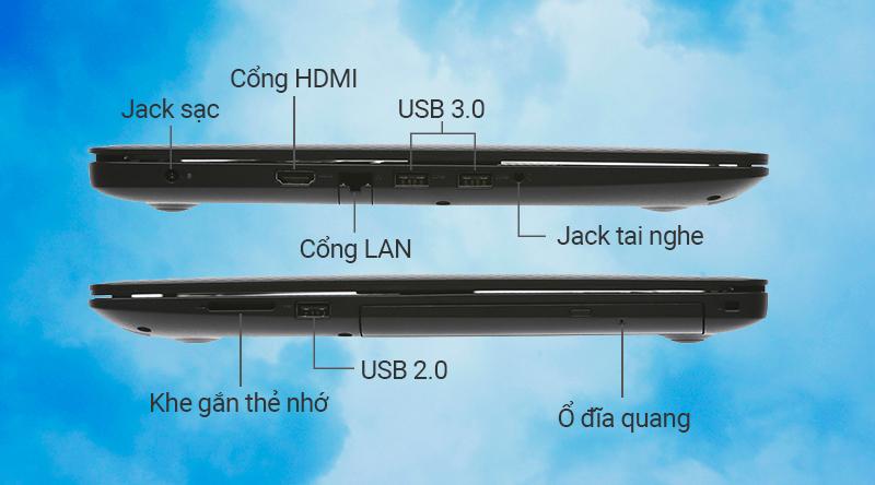 Laptop Dell Inspiron N3580  trang bị khá đầy đủ các cổng giao tiếp thông dụng