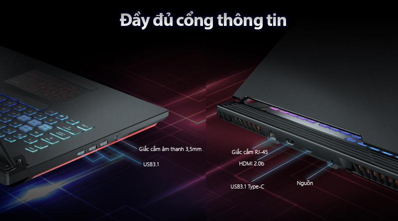 Cổng kết nối trên laptop Asus ROG G531