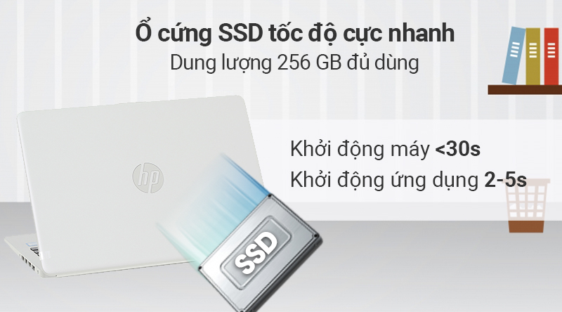 Laptop HP được trang bị ổ cứng SSD 256GB