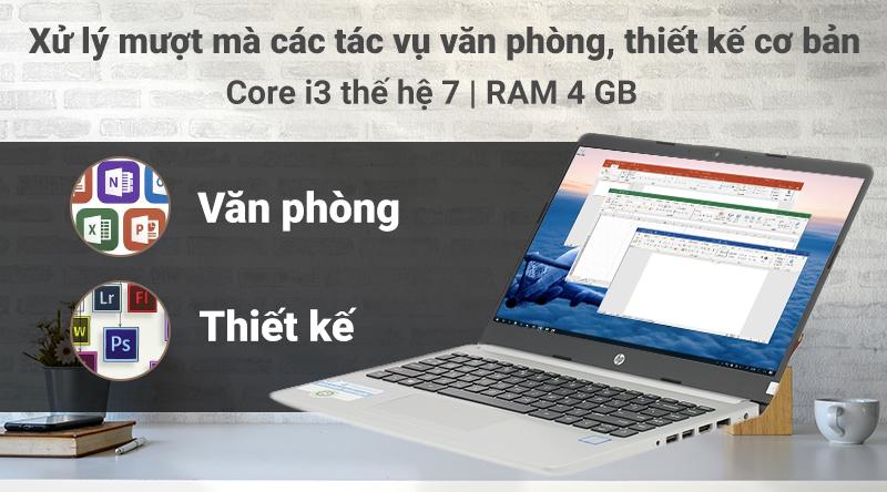 Laptop HP 348 G5 được trang bị chip Core i3 thế hệ 7 cùng RAM 4 GB