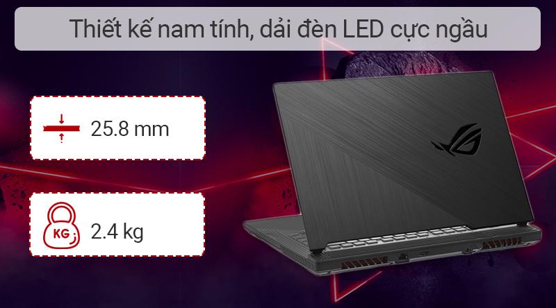 Laptop gaming ASUS ROG G531GD hoàn thiện từ chất liệu nhựa với tông màu đen ấn tượng