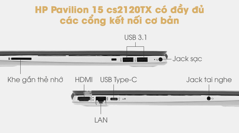 HP Pavilion 15 cs2120TX có card đồ họa rời có đầy đủ các cổng kết nối