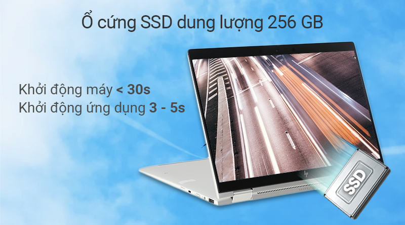 Laptop cao cấp HP EliteBook  trang bị ổ cứng SSD 256 GB