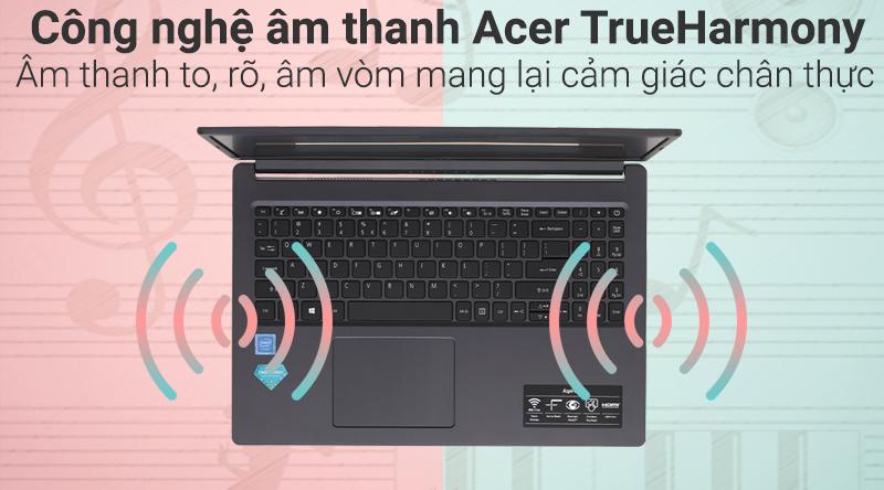 Laptop Acer Aspire A315 34 C2H9 có chất lượng âm thanh to, rõ.