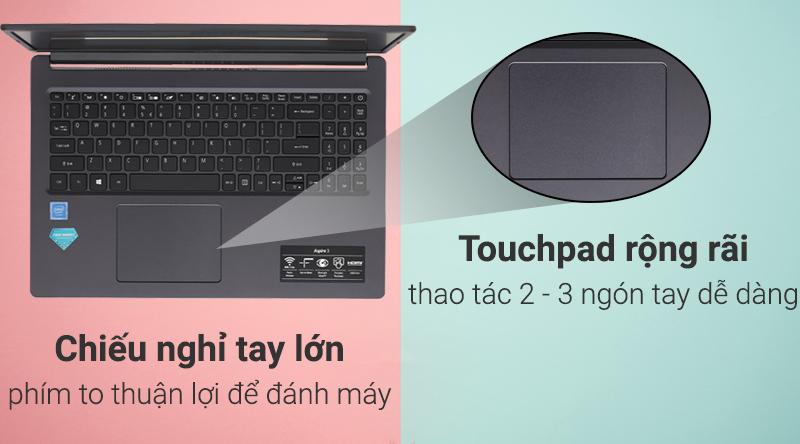 Laptop Acer Aspire A315 34 C2H9 có chiếu nghỉ tay rộng rãi.