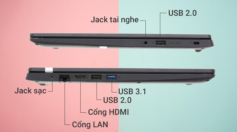 Laptop Acer Aspire A315 34 C2H9 có nhiều cổng kết nối tiện lợi.