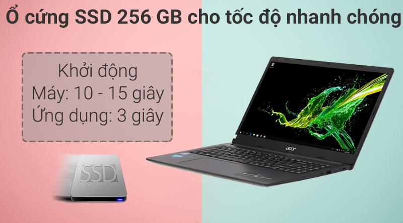 Laptop Acer Aspire A315 34 C2H9 có ổ cứng SSD  cho tốc độ xử lí dữ liệu nhanh chóng.