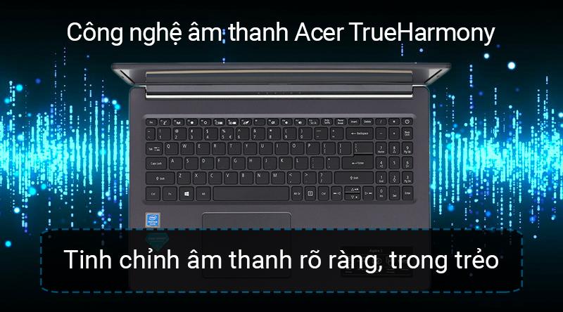 Laptop Acer Aspire A315 có dải âm trầm rộng cùng hiệu ứng âm thanh vòm sống động