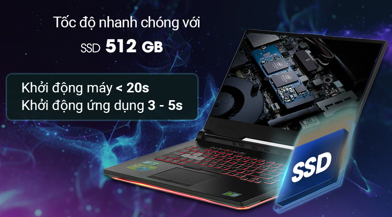 Laptop Asus Gaming ROG  trang bị ổ cứng SSD 512 GB
