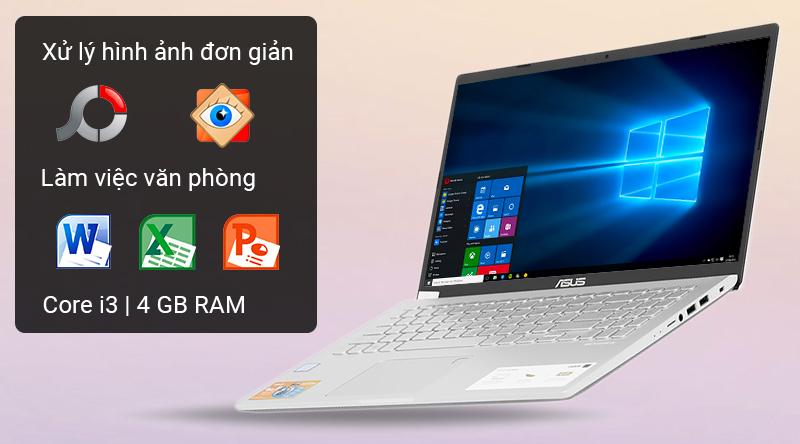 Laptop văn phòng ASUS VivoBook X509U vận hành bởi CPU Intel Core i3, RAM 4 GB.